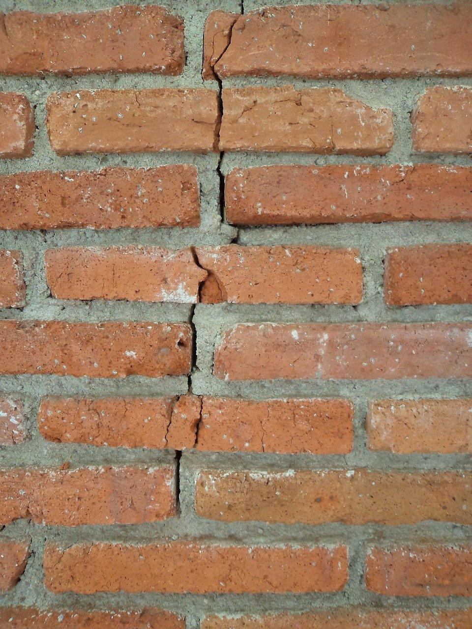 brick, crack, cut