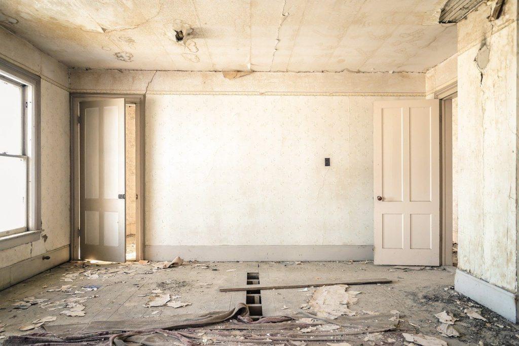 dilapidated, room, interior